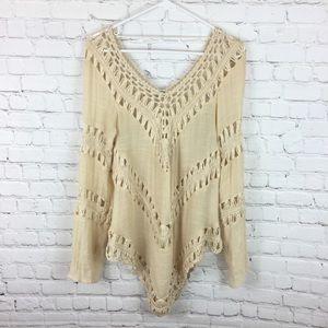 Umgee crochet long sleeve open knit blouse boho M